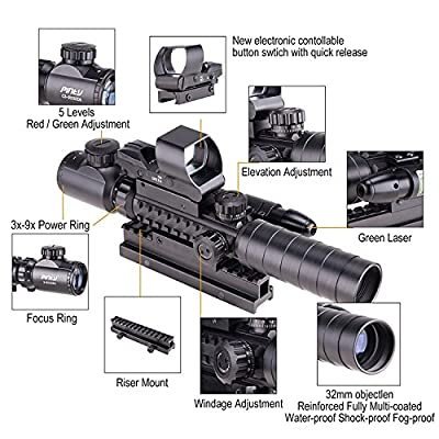 """Pinty Rifle Scope 3-9x32EG Rangefinder Illuminated Reflex Sight 4 Reticle Red&Green Green Dot Laser Sight with 14 Slots 1"""" High Riser Mount"""