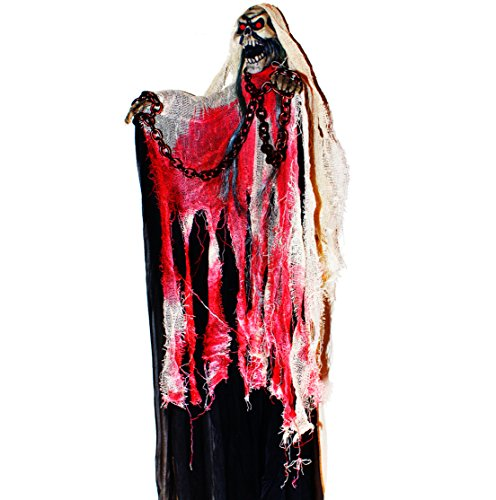 40-inch Animated Skeleton Ghost Halloween Decoration with Glowing Red Eyes and Great Sound Effect (Scary Outdoor Halloween Decorations)