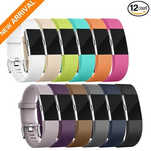 For Charge 2 Bands, 12 Color Fitbit Charge 2 Bands Replacement Wristband For Women Men Gift (Small, Large, Pack, Buckle), Special Edition Fitbit Charge 2 HR Band Accessory Fitness Strap