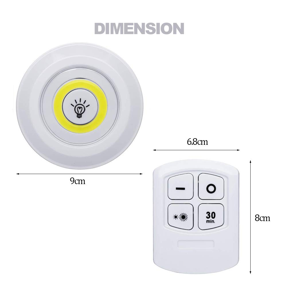 Wireless LED Puck Lights with Remote Control Dimmable /& Timer Closet Light Battery Powered Under Counter Lights for Kitchen 6000K Cool White 3 Pack LED Under Cabinet Light
