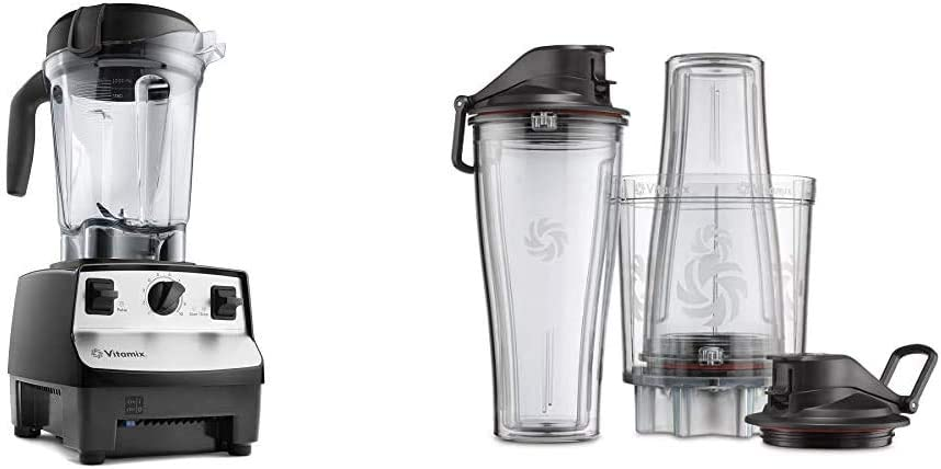 Vitamix 5300 Blender, Professional-Grade, 64 oz. Low-Profile Container, Black (Renewed) & Personal Cup Adapter - 61724