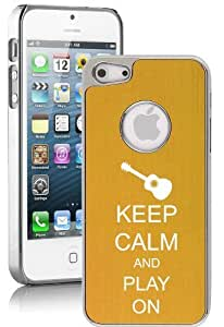 Apple iPhone 5 5s Yellow Gold 5E1057 Aluminum Plated Chrome Hard Back Case Cover Keep Calm and Play On Guitar
