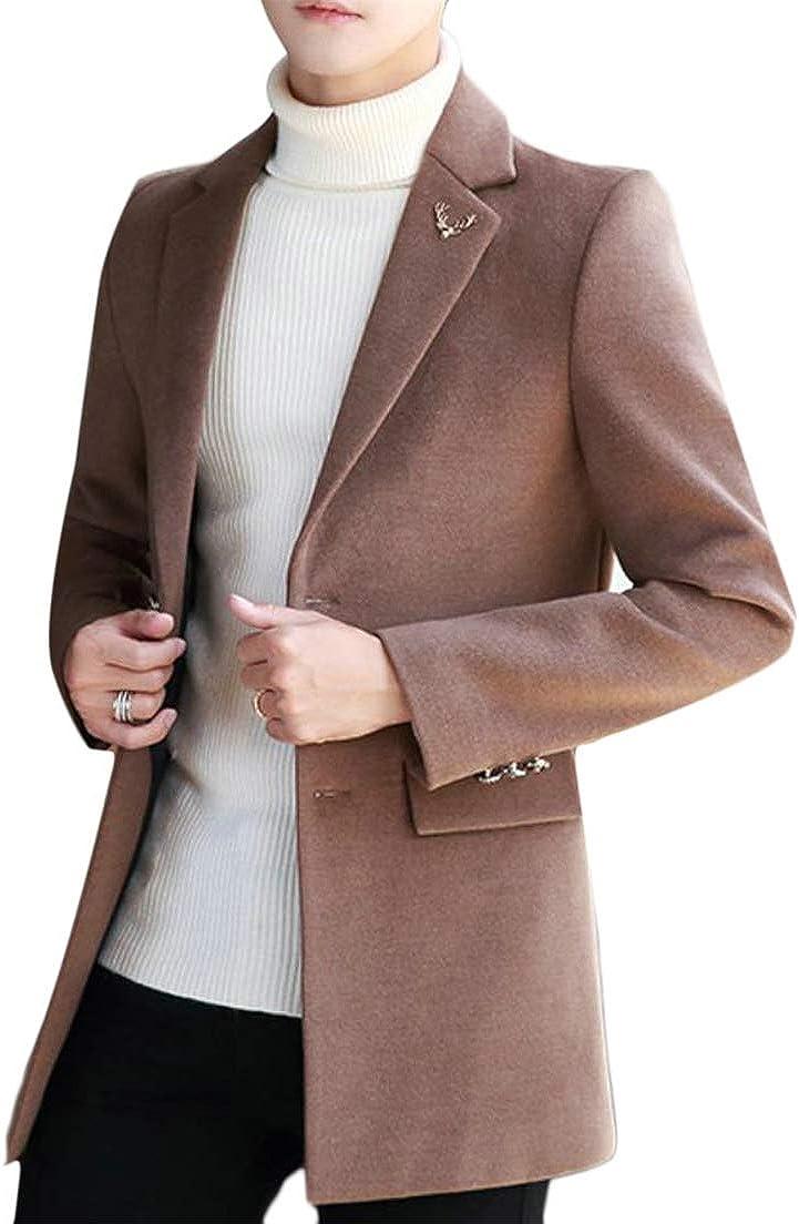 JSY Men Outer Wear Woolen Two Button Sports Coat Tailored Collar Pea Coat