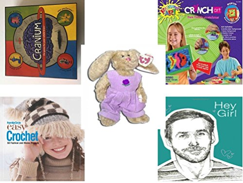 Girl's Gift Bundle - Ages 6-12 [5 Piece] - 2002 Cranium Game - Crunch Art Fun Fabric Creations Toy - TY Attic Treasure Iris The Bunny - Family Circle Easy Crochet: 50 Fashion and Home Projects Hardc
