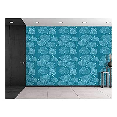 Marvelous Design, Made With Top Quality, Large Wall Mural Seamless Pattern with Clouds and Rain in Sky Vinyl Wallpaper Removable Decorating