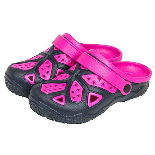 Sabot zoccoli slip on ciabatte in materiale EVA per bambini, taglia 35, colore: blu / rosa