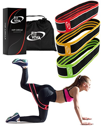 Fabric Resistance Bands Set - Booty Hip Bands for Legs, Shoulders and Arms Exercises - Perfect for Fitness, Glute or Squat Workout - 3 Non-Rolling Thick Circle Bands for Women and Men - Great GlFT by Fit Viva