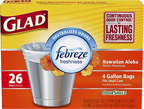 Glad OdorShield Small Trash Bags - Febreze Hawaiian Aloha - 4 Gallon - 26 Count