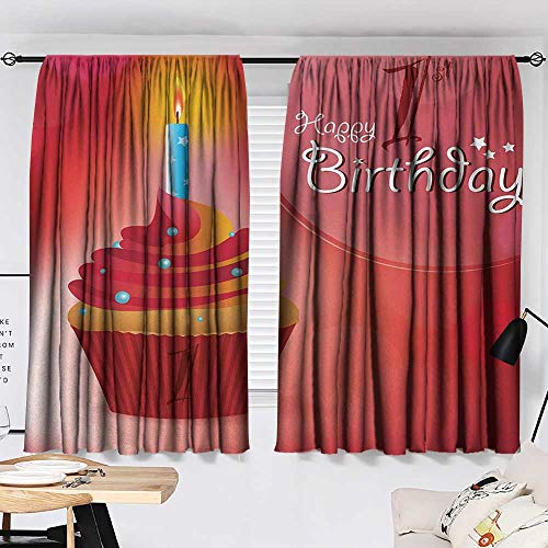 Jinguizi 1st Birthday Set of 2 Panels Abstract Background with Sunbeams and Party Cupcake Candlestick Image reducing Noise Darkening Curtains Orange and Red W55 x L39 by Jinguizi (Image #1)