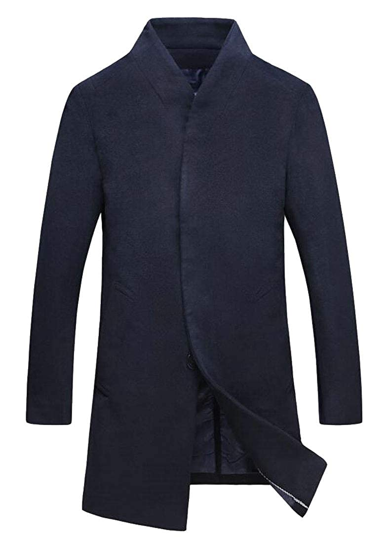 e96ee57e Navy blueee blueee blueee LEISHOP Men Business Slim Overcoat Slim Fit  Single Breasted Wool Blend Parkas 0edb2b