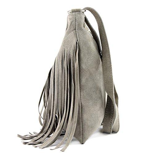 leather bag T145 Italian real suede Beige bag shoulder Women's shopper handbag T02 Gray bag xB8wTFpR
