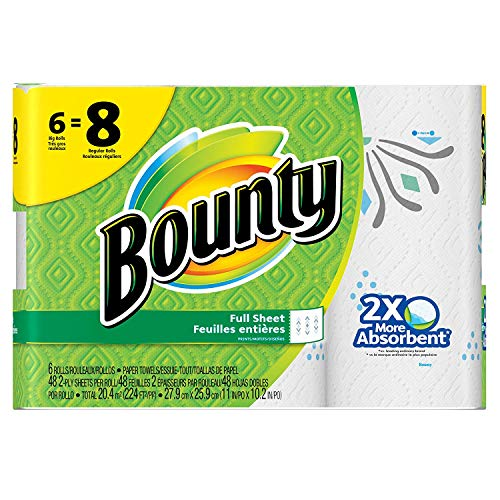- Bounty Paper Towels, Print, 6 Big Rolls = 8 Regular Rolls, Prime Pantry