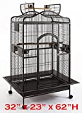 New Large Wrought Iron Open/Close Play Top Bird Parrot Cage, Include Metal Seed Guard Solid Metal Feeder Nest Doors Overall Dimensions: 32' Wx23 x62 H(with Seed Skirt) (32Wx23Lx61.5H, Black Vein)