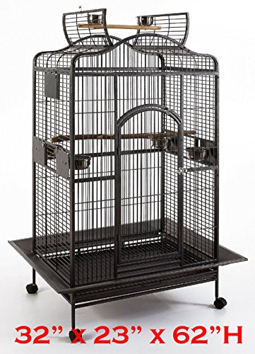 New Large Wrought Iron Open/Close Play Top Bird Parrot Cage, Include Metal Seed Guard Solid Metal Feeder Nest Doors Overall Dimensions: 32