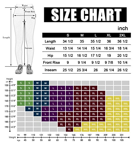 Large Product Image of ODODOS by Power Flex Women's Tummy Control Workout Running Printed Pants Yoga Pants with Hidden Pocket,Indigo, Medium