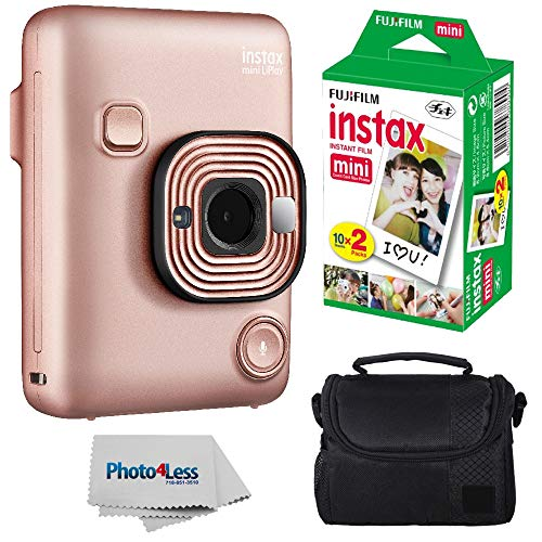 Fujifilm Instax Mini LiPlay Hybrid Instant Camera (Blush Gold) + Fujifilm Instax Instant Film (20 Shots) + Compact Camera Case  – Instant Camera Bundle