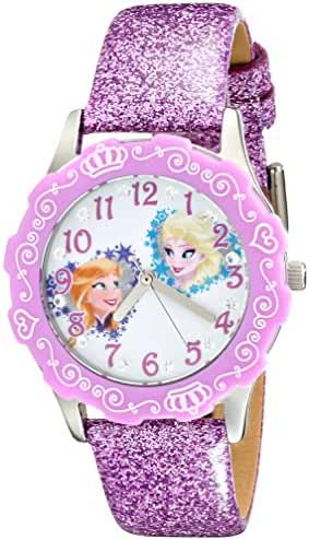 Disney Kids' W001986 Elsa And Anna Stainless Steel Watch With Purple Glitter Leather Band