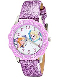 Kids' W001986 Elsa And Anna Stainless Steel Watch With Purple Glitter Leather Band