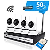 FREDI 4CH HD 720P Wifi Camera Indoor Home Security Camera System CCTV Kit Wireless IP Camera System IR Night Vision Pan/Tilt Motion Detection (Without HDD)