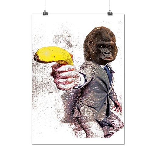 Gorilla Gun Beast Animal Monkey Banana Matte/Glossy Poster A2 (17x24 inches) | Wellcoda