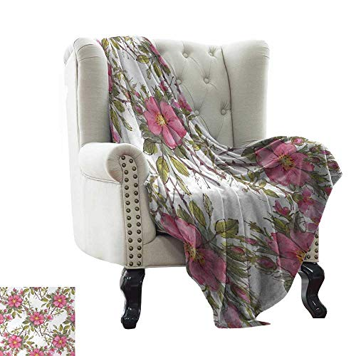 Super Soft Blankets Watercolor Dog Rose Garden Pattern with Leaves and Buds Image Bedroom Warm 50