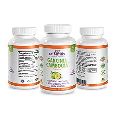 100% Pure GARCINIA CAMBOGIA 1600mg + Potassium Booster Powerful Appetite Suppressant, Natural Weight Loss Supplement, Premium Extracts and FREE of GMO, Gluten, Dairy, Soy, Wheat, No Artificial Colors Flavors