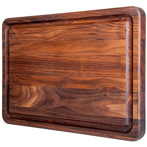 Large Walnut Wood Butcher Block by Mevell with Juice Drip Groove, Big Hardwood Chopping and Carving Countertop Block, Made in Canada (Walnut, 18x12x1.25) (Best E Juice Canada)