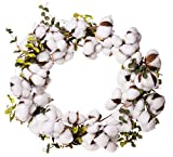 Red Co. Farmhouse Full White Cotton Wreath with Eucalyptus Leaves - Home Décor 22'' Dia