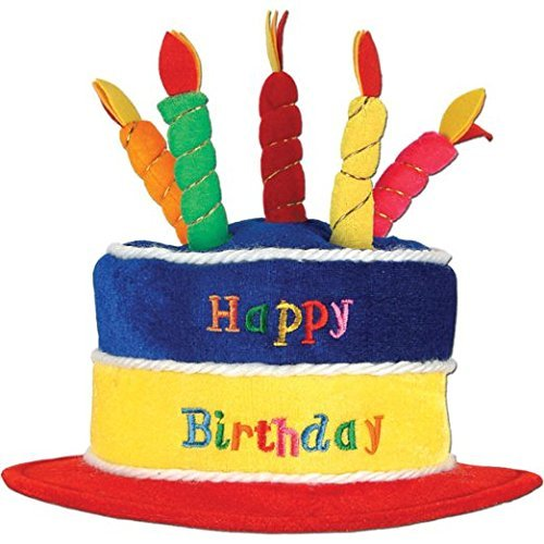 Plush Birthday Cake Hat Party Accessory (1 Count) (1/pkg) Pkg/3 by Beistle