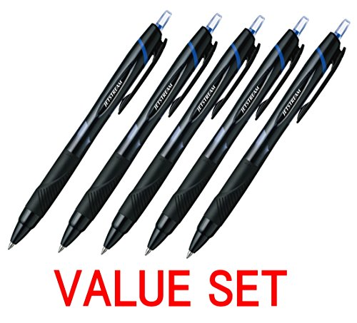 Uni-ball Jetstream Extra Fine Point Retractable Roller BallpointPens,-rubber Grip Type -0.7mm-Blue Ink-value Set of 5