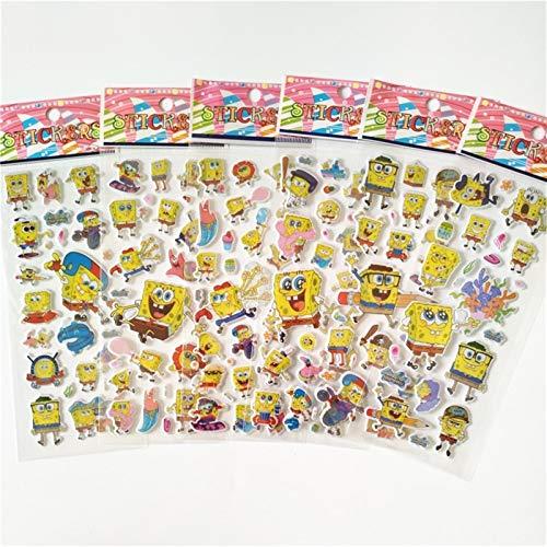 6 Sheets 3D Spongebob Puffy Bubble Stickers Mixed Cartoon Waterpoof DIY Children Kids Boy Girl Toys Reward ()