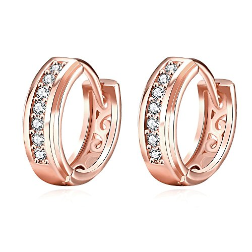 Crystal Shine Small Hoop - 15mm Small Huggie Hoop Earrings,14K Gold/Rose Gold Plated CZ Cubic Zirconia Hypoallergenic Hoops For Women Teen Girls Sensitive Ears (Rose Gold)