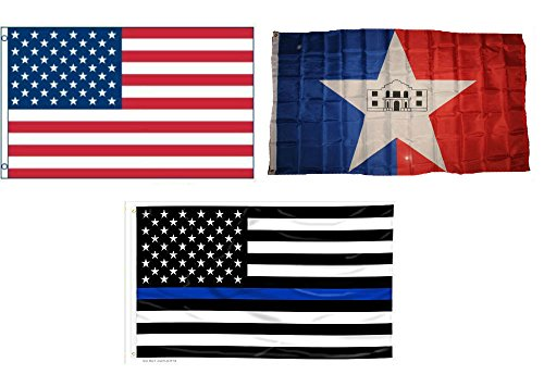 (ALBATROS 3 ft x 5 ft USA with San Antonio Texas with USA Police Blue Line Flag Set for Home and Parades, Official Party, All Weather Indoors Outdoors )