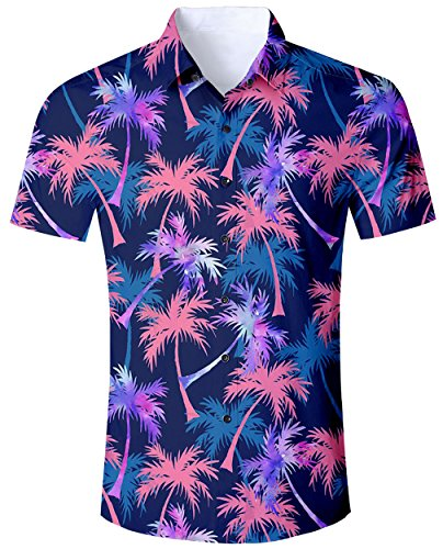Mens Hawaiian Tropical Shirts Short Sleeve Hibiscus Palm Tree Printed Casual Hawaiian Holiday BBQ Aloha Button Down Shirt