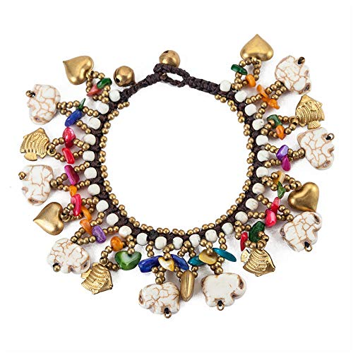 TOMLEE Bohemian Stone Elephant Charm Handmade Wax Rope Chain Bracelet for Women Ethnic Boho Hand-Woven Bell Clasp Bracelets Accessories Summer Jewelry