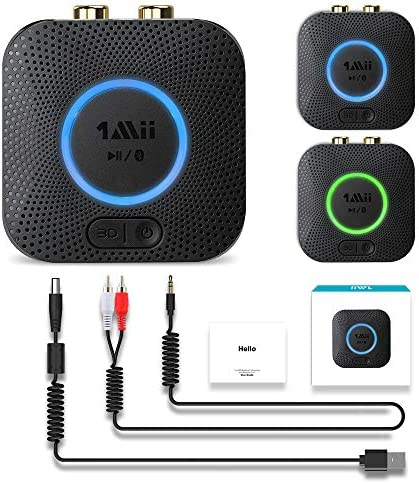 [2020 Version] 1Mii B06 LL Mini Bluetooth Receiver, HiFi Wireless Audio Adapter, Bluetooth Receiver with 3D Surround aptX Low Latency for Home Stereo System 12hrs Playtime