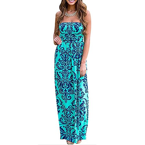 Maxi Party Women Print Long Strapless Dress Pocket with Green Floral BOSSAND Vintage Beach nw8TXqqp