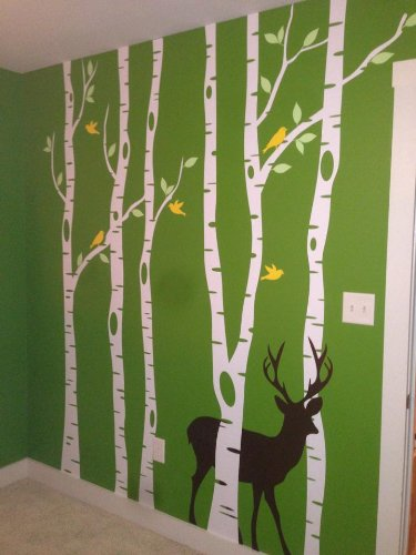 Innovative Stencils Birch Tree Wall Decal Forest with Snow Birds and Deer Vinyl Sticker Removable (9 Trees) #1161 (White Trees - Dark Gray Animals, 96'' (8ft) Tall) by Innovative Stencils (Image #8)