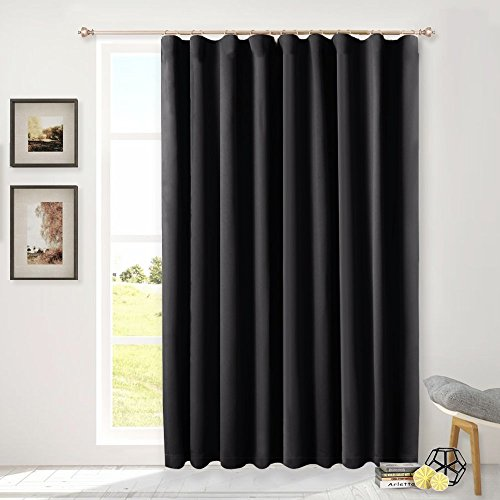 NICETOWN Sliding Glass Door Wide Curtain, Window Treatments for Patio Doors, Back Tab Thermal Insulated Blackout Curtains (Black, 100 by 84-Inch)