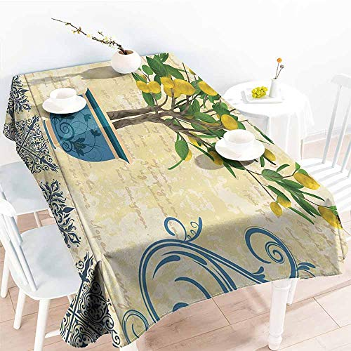 - Stain-resistant tablecloth Lemons Decor Lemon Tree Birds Traditional Tiles Paisley Monarch Butterfly Bird Vintage Style Floral Flowerpot Ceramic Vase Ivory Yellow Green Blue Navy picnic W52