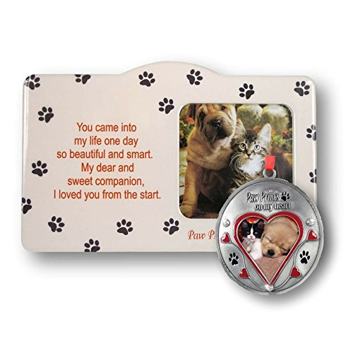 Pet Keepsake Picture Frame and Ornament Set - Paw Prints on My Heart Frame - Loving Memory Dog or Cat Memorial Christmas Ornament