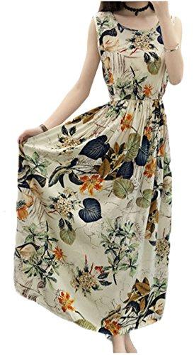 [ワン アンブ] ロング ワンピース 花柄 ノースリーブ 肩出し ゆったり 着痩せ 体型カバー M ~ XL レディース
