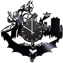 Batman and Catwoman HANDMADE Vinyl Record Wall Clock - Get unique home room wall decor - Gift ideas for boys and girls – Comics Figures Silhouette Unique Modern Art