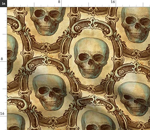 Halloween Fabric - Halloween Gothic Vintage Skeleton Skull Halloween Skulls Victorian Antique Gothic Haunted House by Thecalvarium Printed on Satin Fabric by The -