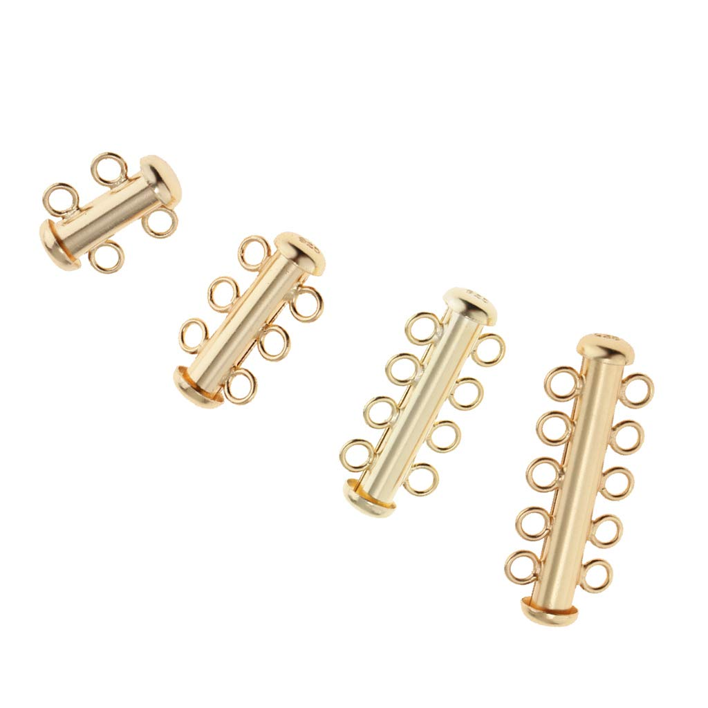Baoblaze Gold Plated 925 Sterling Silver Multi 2-5 Slide Strand Clasp Connectors Pearl Necklace Bracelet Jewelry Findings 2 Strand