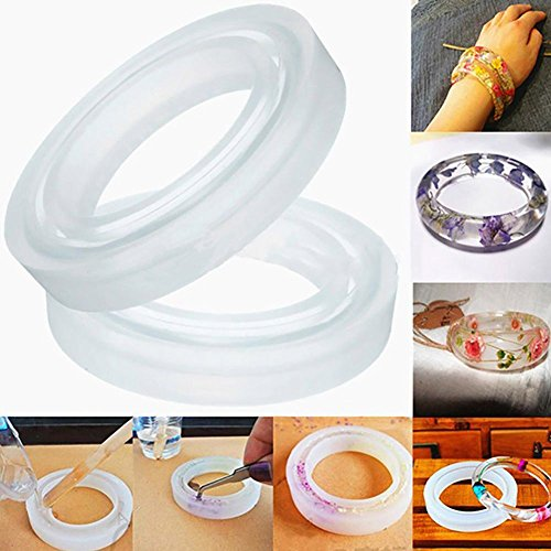 SODIAL 4PCS Silicone Mould Mold Round for Curve Bangle Bracelet Jewelry Making DIY ()