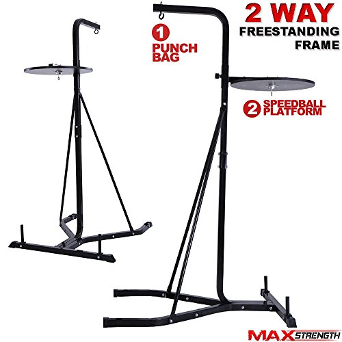 Max Strength Heavy Duty Punch Bag Stand Boxing Bag Frame And Adjustable Speedball Bag 2 Way Frame High Grade Steel 6ft 10inches Frame