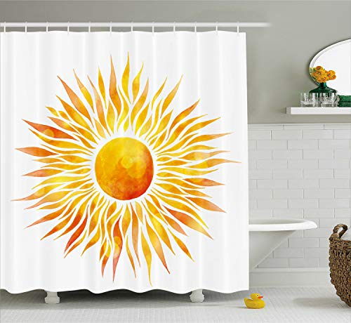 Ambesonne Orange Shower Curtain by, Hand Drawn Graphic Sunburst Watercolors with Wavy Rays Warm Weather Summertime, Fabric Bathroom Decor Set with Hooks, 70 Inches, Orange Yellow
