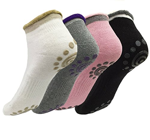 ALLWIN® Best Non Slip Skid Yoga Pilates Socks with Grips Cotton for Women Pack of 4 (Color A)