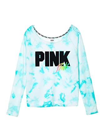 70c891a18518a Victoria's Secret PINK Slouchy Crew Seashore Blue Tie Dye (Small) at ...